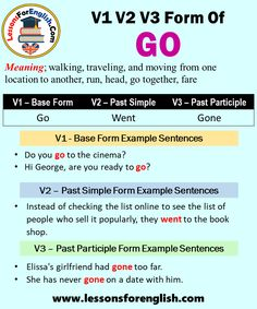 Form Example, Go To The Cinema, Present Perfect, Going To University, Irregular Verbs, English Verbs, Past Tense, Learn English Words, Prepositions