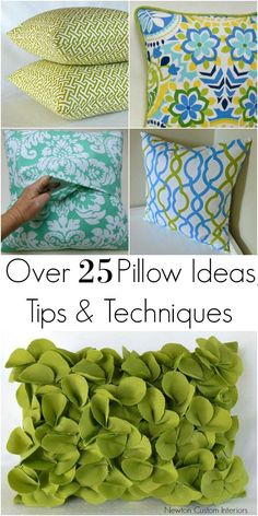DIY pillows are a fun sewing project and an easy way to change the look of your room. Learn over 25 pillow ideas, tips and techniques for how to make pillows. #newtoncustominteriors #sewingtutorial #videotutorial #pillow #diypillow
