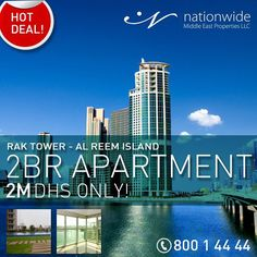 Don't miss the chance of this #HotDeal for 2 Bedroom apartment in RAK Tower, Reem Island for just 2M.  Call us for more information now. ☎800 14444  #RAKtower #reemisland #propertyoftheweek #dreamhouse #milliondollarlisting #savingforahouse #HouseHunting #NewHome #ForSale #RealEstate #Realtor #Realty #Broker #HomeSale #Properties #Investment #JustListed #propertymanagement #instaAbuDhabi #followme #Nationwide_AD #NationwideDeals #AbuDhabi #RAKproperties #alreemisland #RAK #specialoffer