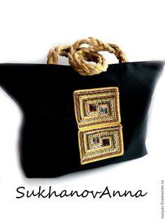 """Купить Сумка пляжная """"Греция"""" - черный, пляжная сумка, сумка тканевая, сумка льняная"""