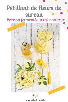 Teste ma recette de champagne des fées: une #limonade légèrement #fermentée à base de #fleurs de #sureau noir. Idéal comme apéritif sain et avec très peu d'alcool. Une #boisson de #fête #originale. #fermentation
