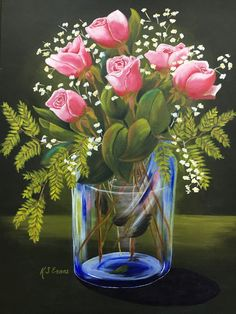 """""""Rose Vase"""" by Cathy Evens.  This is stunning.  Cathy has painted two of these and sold both. Awesome"""