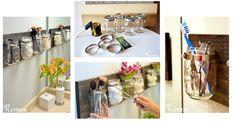 Collage von vier Fotos wie ein Regal aus Weckgläsern gebaut wird