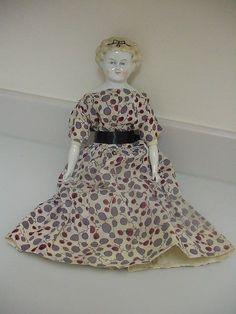 Antique German China Head Feet & Hands Doll  Dolly Madison Style  1870