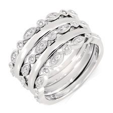 Diamond & Sterling Silver Stacker Ring