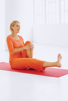 Strengthens: Quadriceps Sit on the floor with your legs flat in front of you. Then bend your right leg and wrap both hands around that knee to help keep your back straight. With your left leg straight, lift it as high as you can, hold for a second and lower slowly. Your foot should be flexed. Repeat as many times as you can, then switch to the opposite leg and do the same number of repetitions.