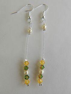 boucles d'oreilles cristal swarovski jaune vert duo perles nacrées €4.50