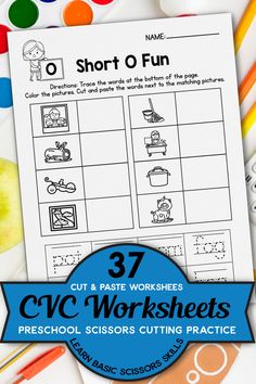 I used this in speech activities to target the oral production of CVC words. The picture and word reinforcers are good for young students to decode words. These are great supplements to the word work we do in Kindergarten! A fun way to practice word families using these CVC words for kindergarten and first grade students! These are great for activities for kindergarten phonics and literacy centers, The kids will have to decode words and write using this phonics practice pages. Vowel Worksheets, Cut And Paste Worksheets, Preschool Worksheets, Cutting Practice, Kindergarten Phonics, Speech Activities, Short Vowels, Cvc Words, Writing Resources