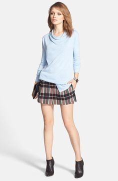 Trouvé Drape Neck Sweater & 1.STATE Plaid Shorts