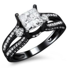 1.50ct Natural SI-1 F Princess Cut #Diamond Engagement #Ring 14k #Black #Gold with a .70ct Center Diamond and .80ct of Surrounding Diamonds $3,395 Save 55% (Retail: $7,695)