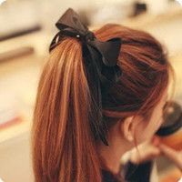 Long Satin black big bows #korean#style#hair#ponytail