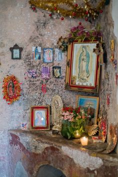 "Our Lady of Guadalupe home shrine: "" Lupita "" Religious Icons, Religious Art, Prayer Corner, Home Altar, Holy Mary, Catholic Art, Catholic Relics, Mexican Folk Art, Sacred Art"