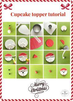 Cupcake topper tutorial santa clauss dog face