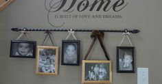 Curtain Rod and some ribbon to hang the pics!! Oh i LOVE this!! With our plaster walls…this is what we should do on the stairway! Summer project!