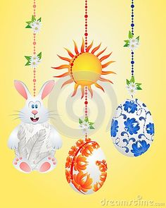 Easter bunny and Easter eggs on the bright illustrations