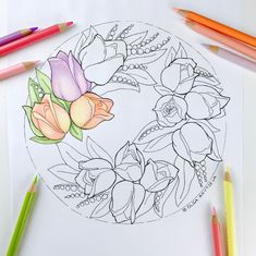 Adult coloring page Tulip Wreath Tulip Flower Coloring Page Flower Coloring Pages, Adult Coloring Pages, Coloring Books, Poppy Wreath, Tulip Wreath, Hand Drawn Flowers, Drawing Flowers, Tattoo Flowers, Wreath Tattoo