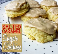 Soft and Chewy Salted Caramel Sugar Cookies. The perfect sweet and salty treat. SOO YUMMY! Come get the full recipe!