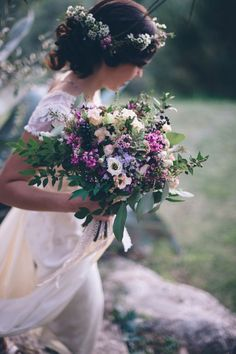 Gorgeous #bouquet for a #springwedding. We love how whimsical this looks! Photo by Leila Scarfiotti