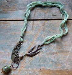 ribbon and metal combined for necklace