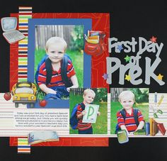 First Day of Pre-K Classic School Stickers Scrapbook Layout from Creative Memories  http://www.creativememories.com