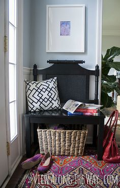 Can you believe this custom-sized bench was made from a $3 garage sale headboard? This blogger sliced and diced it down to fit into her entryway, then gave it a fresh coat of black paint for a chic (yet functional) statement.
