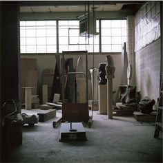 thenoguchimuseum:  Photograph of Isamu Noguchi's 10th street studio in Long Island City, NY, ca. late 1960s.  Photo by Margot Granitsas The Noguchi Museum Archive