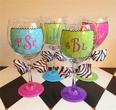 Monogram Wine Glasses Set of 4 Hand Painted by winewhimsy