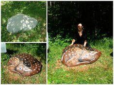 Life-size painted rock deer by Federica Ramoni