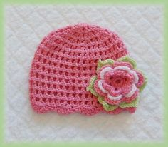 Baby Crochet Pink Flower Hat (only pic).no pattern Crochet Kids Hats, Baby Girl Crochet, Crochet Beanie, Love Crochet, Learn To Crochet, Crochet Flowers, Knitted Hats, Knit Crochet, Crochet Chart