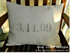 Save the Date Custom Pillow by dropclothdesignco on Etsy