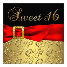 sweet 16 red black and white decorations | Gold Red Black Sweet 16 Birthday Party Custom Invite from Zazzle.com