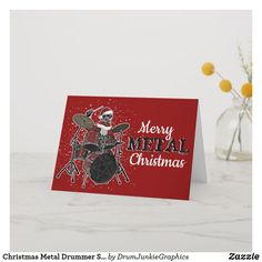 Wish your fellow rockers a Merry Metal Christmas with this cool drummer Christmas card, featuring skeleton Santa behind the drum kit  #drummerchristmas #snaredrum #drumsticks #drumjunkie