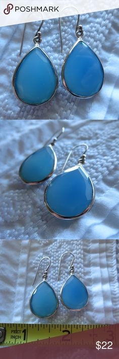 "Genuine Blue Chalcedony & Sterling Silver Earrings Stunning genuine blue chalcedony stones set in stamped .925 sterling silver. Gently used & well cared-for; excellent condition. Measures approximately 3/4"" x 1"" in size (not counting hook). Jewelry Earrings"