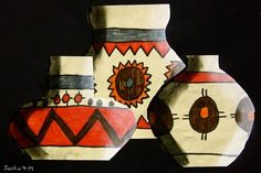 Native American pottery. 2d drawing, could use marker, crayon, paint to draw geometric shapes. Shading to create 3d effect.