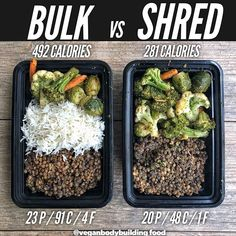 bodybuilding recipes Bulk or shred? - Here is another really simple example of how to create a bulking meal vs a cutting meal with the same core ingredients! Vegan Bodybuilding Diet, Bodybuilding Meal Plan, Bodybuilding Recipes, Bodybuilding Cutting, Vegan Meal Plans, Healthy Meal Prep, Healthy Snacks, Healthy Eating, Healthy Recipes