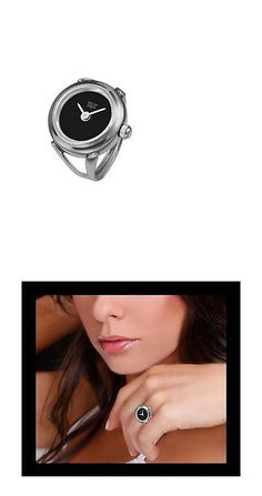 c1ede6972cb1 Ring Watches 173698  Davis 4185 - Womens Finger Ring Watch Black Dial Sapphire  Glass Adjustable