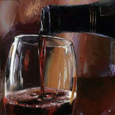 "Oil painting ""Pouring Wine"" by Victor Bauer"