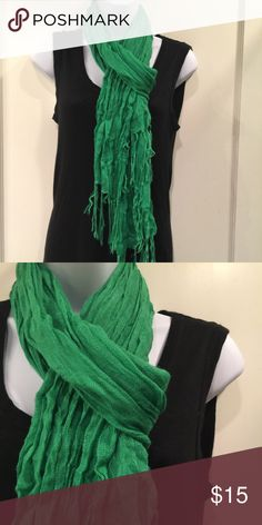 Green scarf Green, viscose wrinkle scarf. Length 66 inches long Accessories Scarves & Wraps