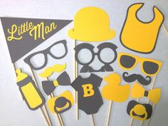 15-Piece Little Man Set - Baby Shower Photobooth Props - Baby Shower Photo Booth Props - Little Man Party - It's a Boy Photo Booth