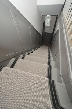4-059 wool stair runners Bowloom wool carpet, fitted stair runners with Stripe P - Colour 2 binding tape
