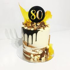 "20 Likes, 2 Comments - Sophisticake By Sophie Ogilvie (@sophisticakebysophie) on Instagram: ""Happy 80th Birthday Don 🍪🍩🍫🍰 #caketopper #dripcake #toffeeshards #overloadcake #seminakedcake…"""