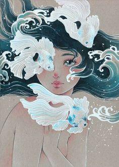 Maria Victoria Rivero-Sirenes- Japan Expo Paris by Victoria-Rivero Art Inspo, Inspiration Art, Japan Expo Paris, Japan Japan, Art Sketches, Art Drawings, Arte Indie, Art Du Croquis, Art Mignon