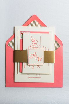 Coral And Gold Wedding Invitations With Gold Band And Glitter Liner!