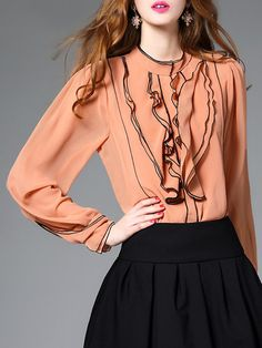 Shop Blouses - Stand Collar Ruffled Simple Long Sleeve Blouse online. Discover unique designers fashion at StyleWe.com.