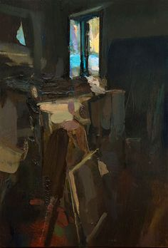 Interior #124 (Nocturne). Oil on wood, 45 x 30 cm *SOLD*
