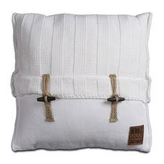 Pillow 50x50 - 6x6 Rib VZ white by Knit Factory www.knitfactory.nl