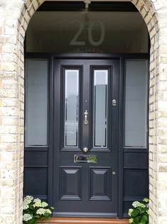 Victorian Front Door with sidelights and satin glass with clear pin stripe - doors and windows - Door Design Hardwood Front Doors, Grey Front Doors, Front Doors With Windows, Wooden Front Doors, Painted Front Doors, The Doors, Glass Front Door, Doors With Glass Panels, Composite Front Doors Uk
