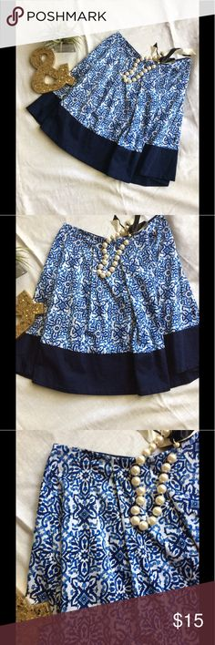 Beautiful Skater Skirt Bold blues and navy trim. Somewhat high waisted with a side zip. Flows bottom. Excellent condition. Milly Skirts Midi