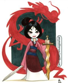 Mulan Copics (ugh, this paper did not like copics.) March 2013 by Amy Mebberson Disney Pixar, Chibi Disney, Disney Nerd, Arte Disney, Disney Fan Art, Disney Animation, Disney Cartoons, Disney And Dreamworks, Disney Love