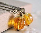Glass Pumpkin Earrings, Orange Beads, Antiqued Brass Kidney Earwires, Thanksgiving Autumn Halloween Jewelry